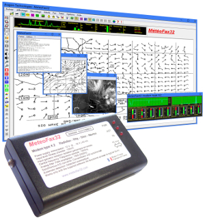 MeteoFax32: Weather fax decoding software provided with a dedicated modem.